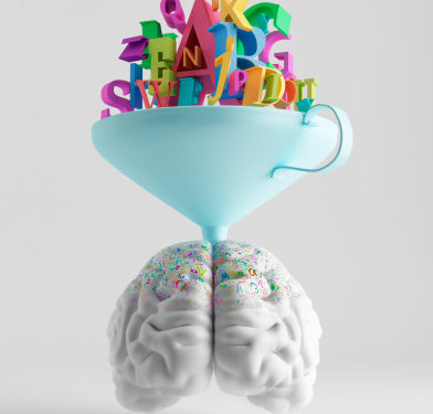white model of a brain with a large funnel on top filled with colorful letters