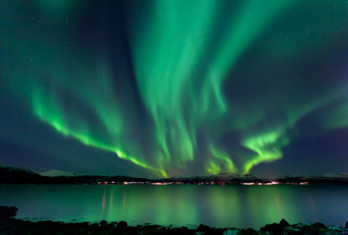 Northern lights reaching across the sky celebrating God's amazing creations