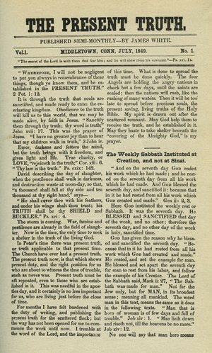 A photo of a news aarticle printed in 1840 with the headline The Present Truth