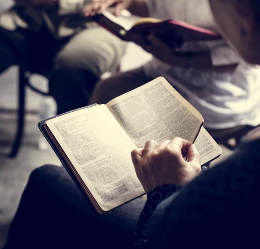 Group studying the Bible for contradictions