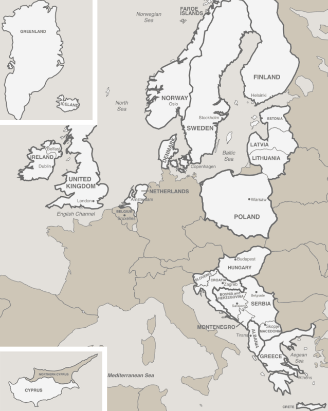 Map of the Seventh-Day Adventist Trans-European Division