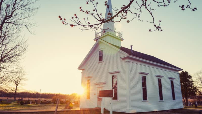 small white sda church in the country