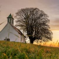 White church at sunset