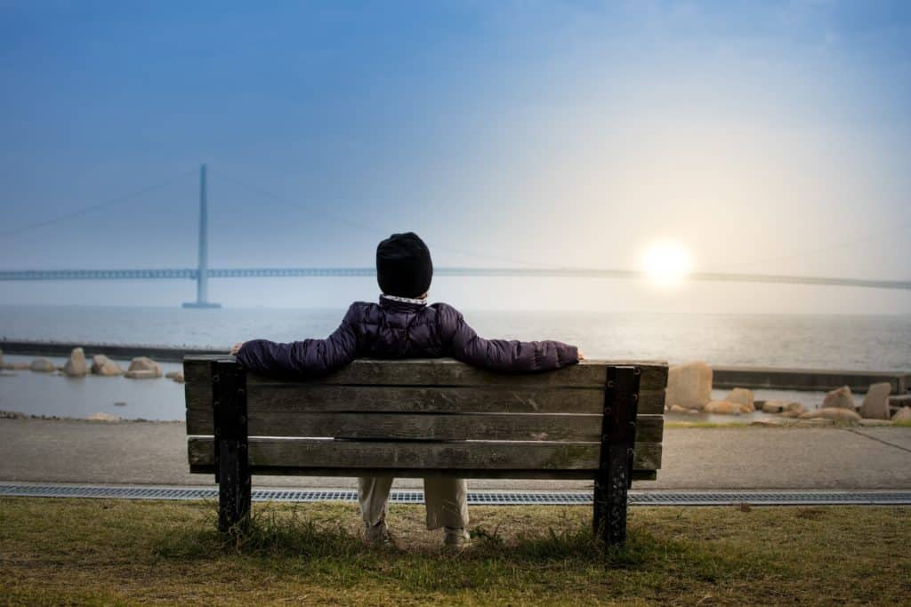 Person sitting on a bench at the edge of a large body of water. There is a large bridge in the distance.