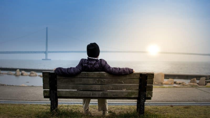 Person resting on a bench staring at a large bridge in the distance.
