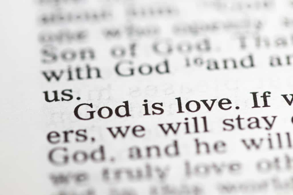 "Biblical text. ""God is love."""
