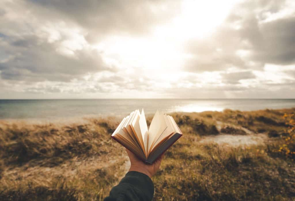 Outstretched hand holding a book towards the ocean.