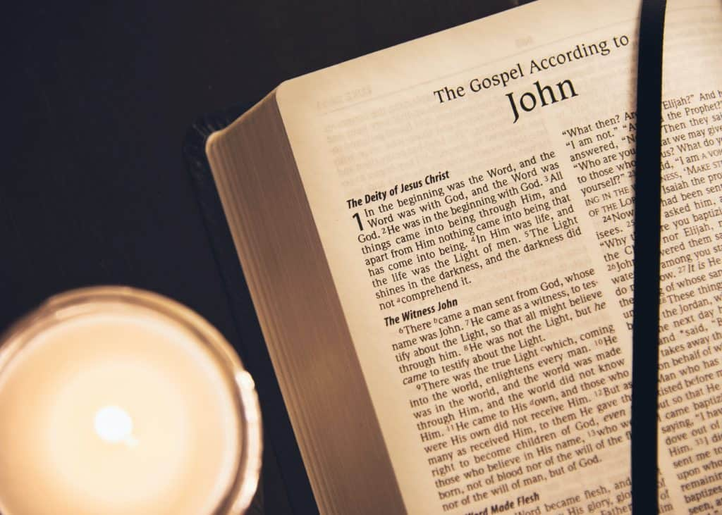 The Bible open to the first chapter of the book of John