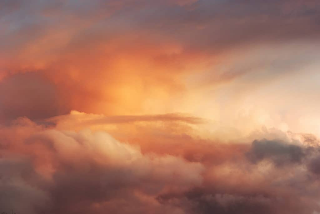 Red Sunset Sky over clouds