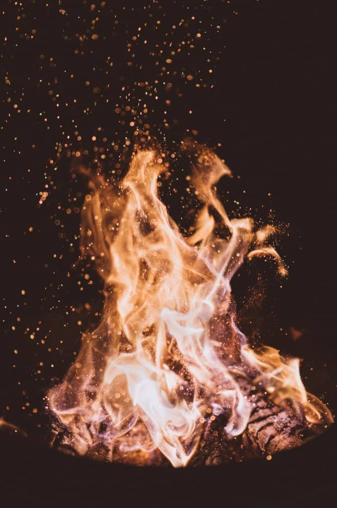 A close-up image of a fire