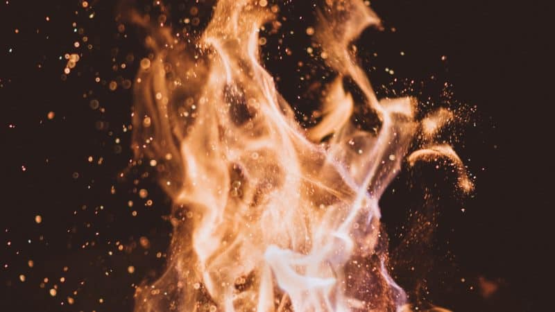 A close-up image of a fire as we study about the hell fire mentioned in the Scripture