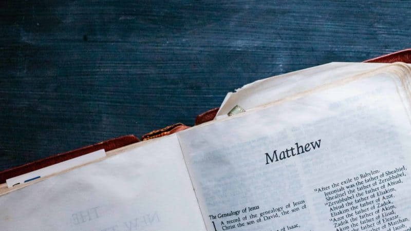 The Bible open to the book of Matthew as we study the life, death and resurrection of Jesus Christ