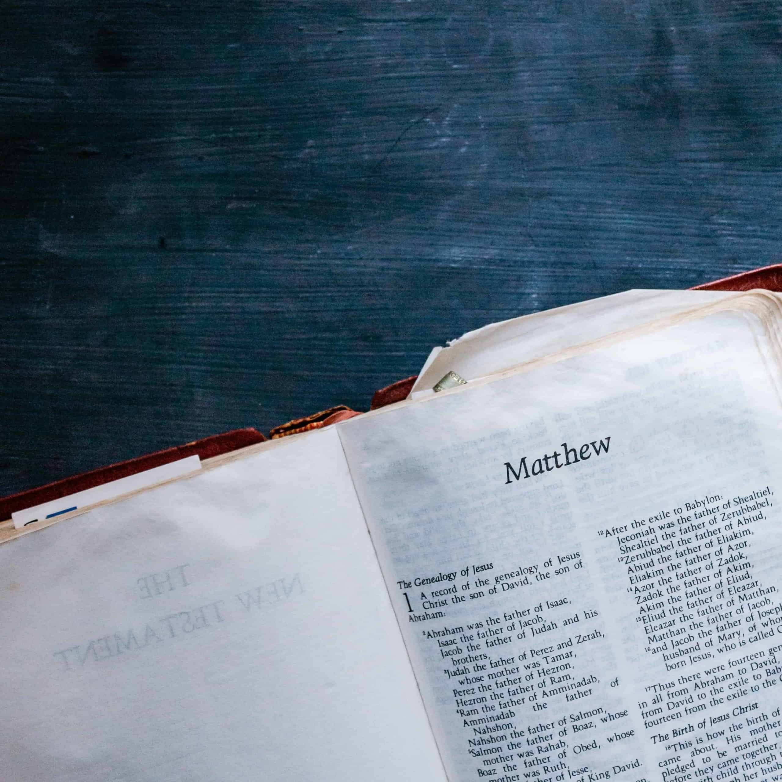 The Bible open to the book of Matthew.