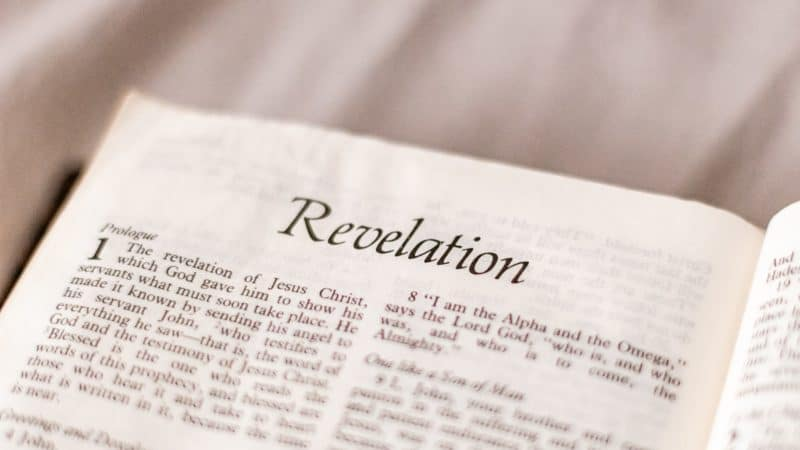 The Bible open to Revelation as we study various prophecies mentioned in it and of Jesus' soon return