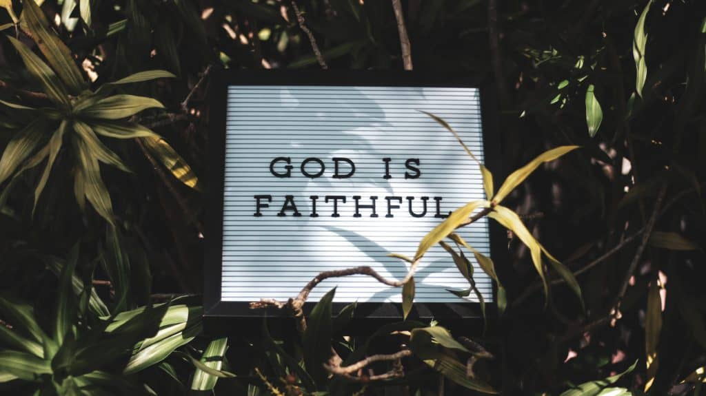 A sign that says 'God is faithful' surrounded by plants