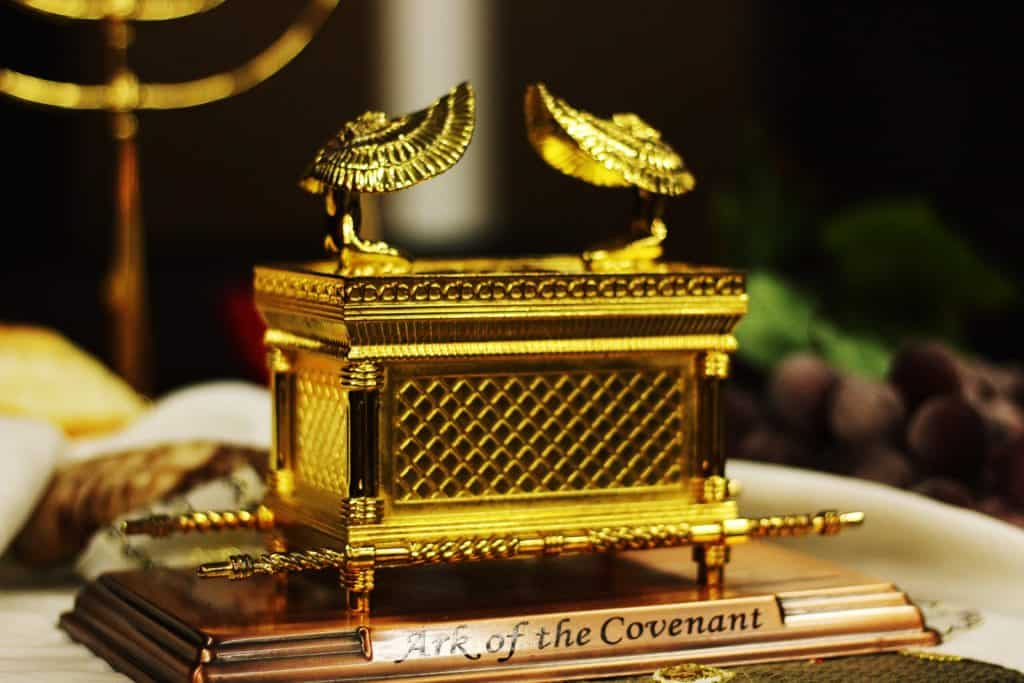 Close-up of a model of the ark of the covenant