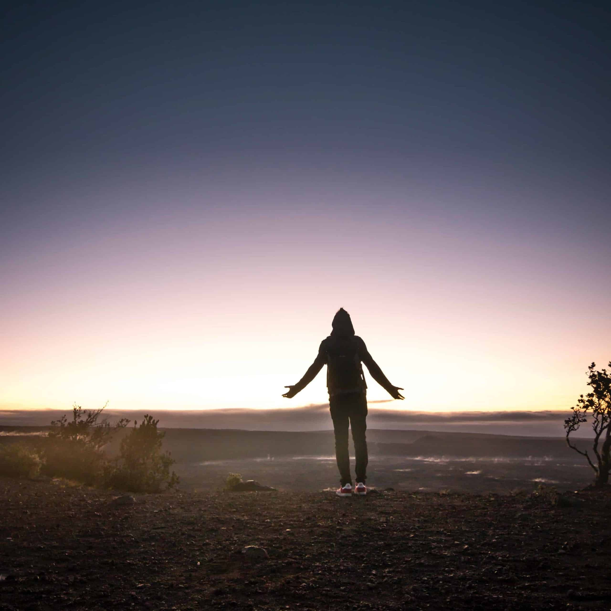 A person standing in the desert at dusk with their arms outstretched.