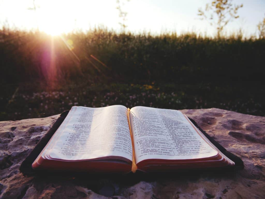 An open Bible on a rock with the sun shining behind.