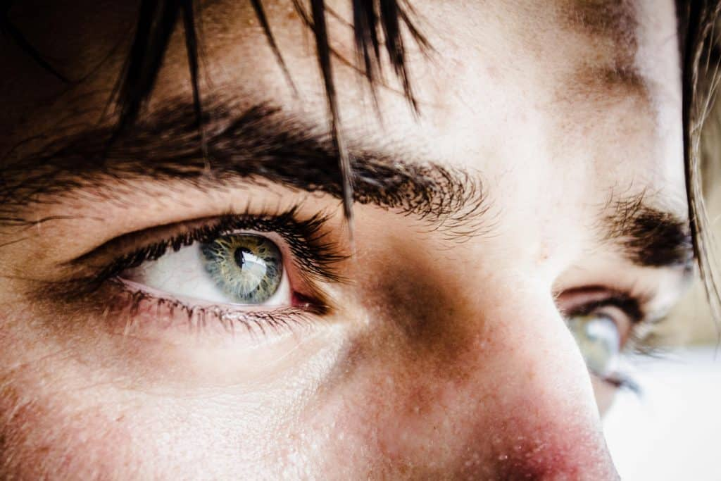 Close-up of a man's eyes.