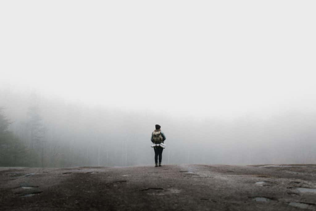 A woman on a hike looking over a foggy forest.