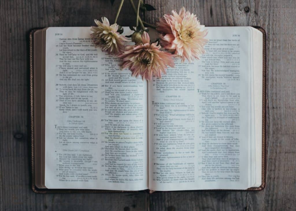 The Bible open to the book of Job with flowers on it.