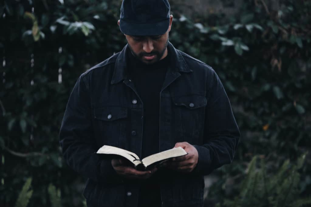 A man reading the Bible.
