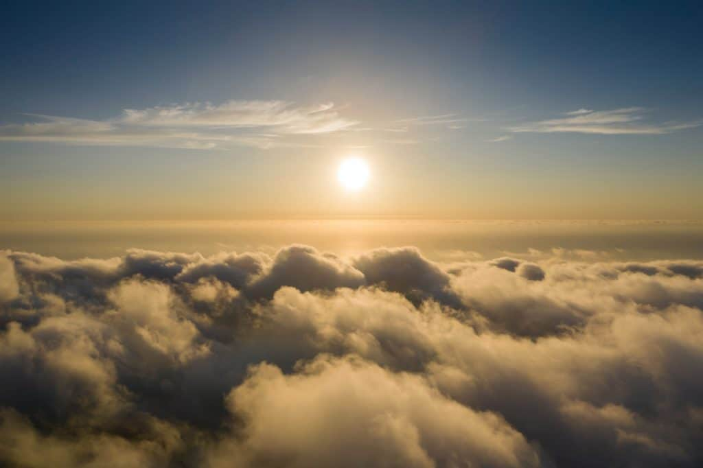 View from the air of the sun and clouds.