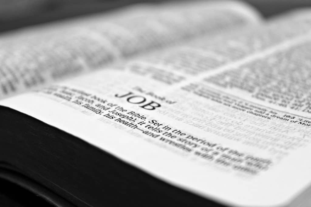 The Bible open to the book of Job.