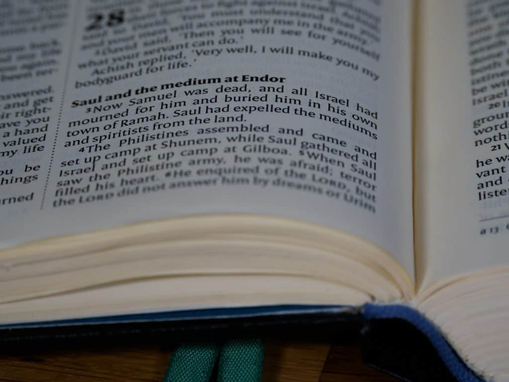 The Bible open to the passage about Saul and the medium at Endor.