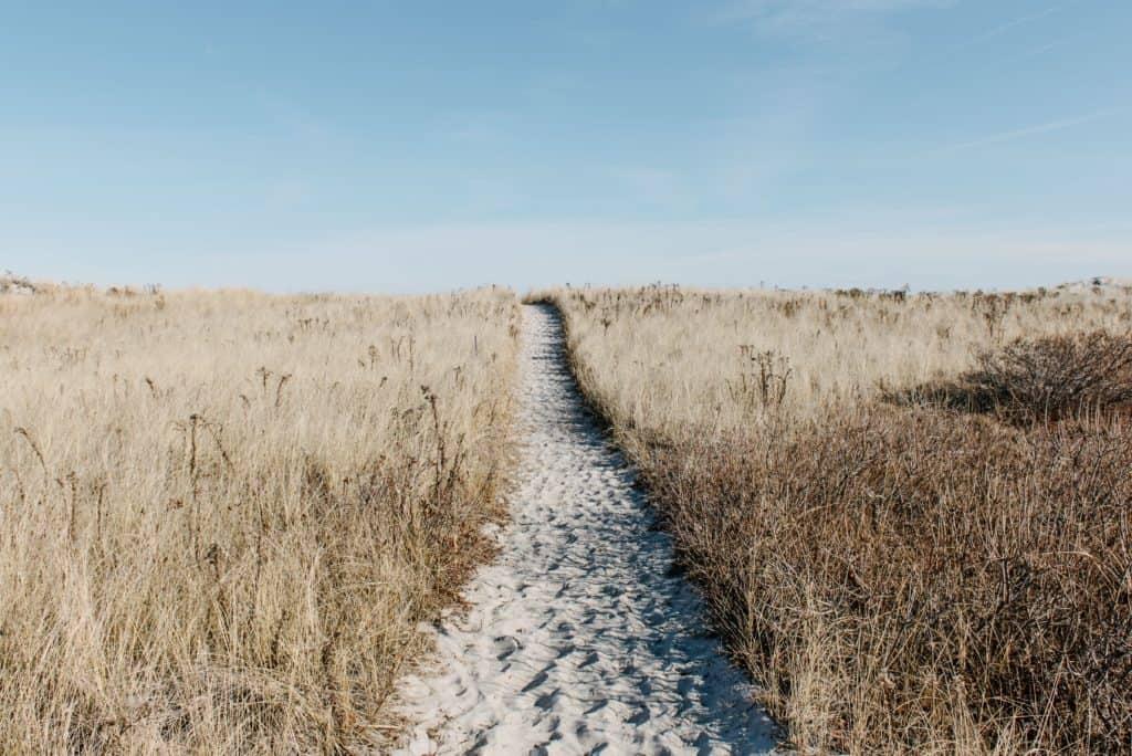 A sandy path going up a hill.