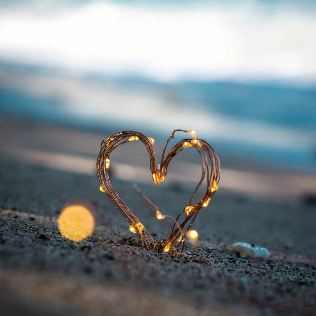 A heart on a beach.