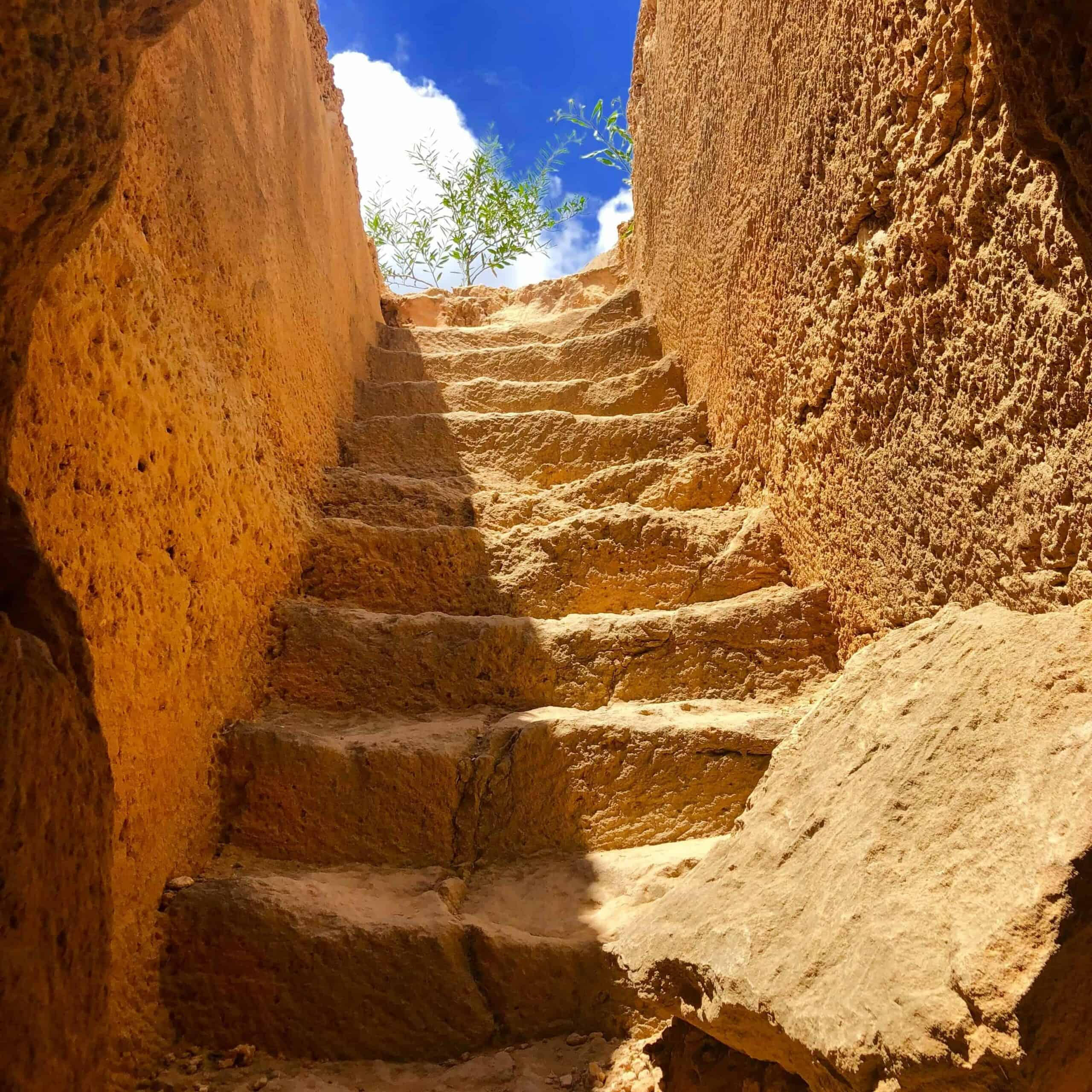Looking up the stairs of a tomb.
